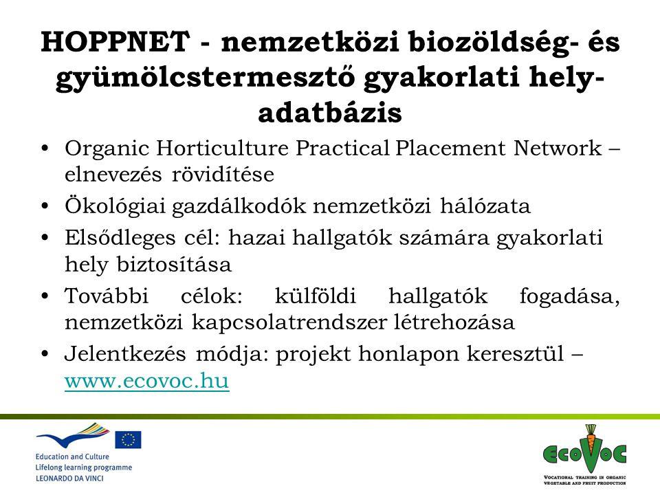 HOPPNET - nemzetközi biozöldség- és gyümölcstermesztő gyakorlati hely- adatbázis Organic Horticulture Practical Placement Network – elnevezés rövidíté