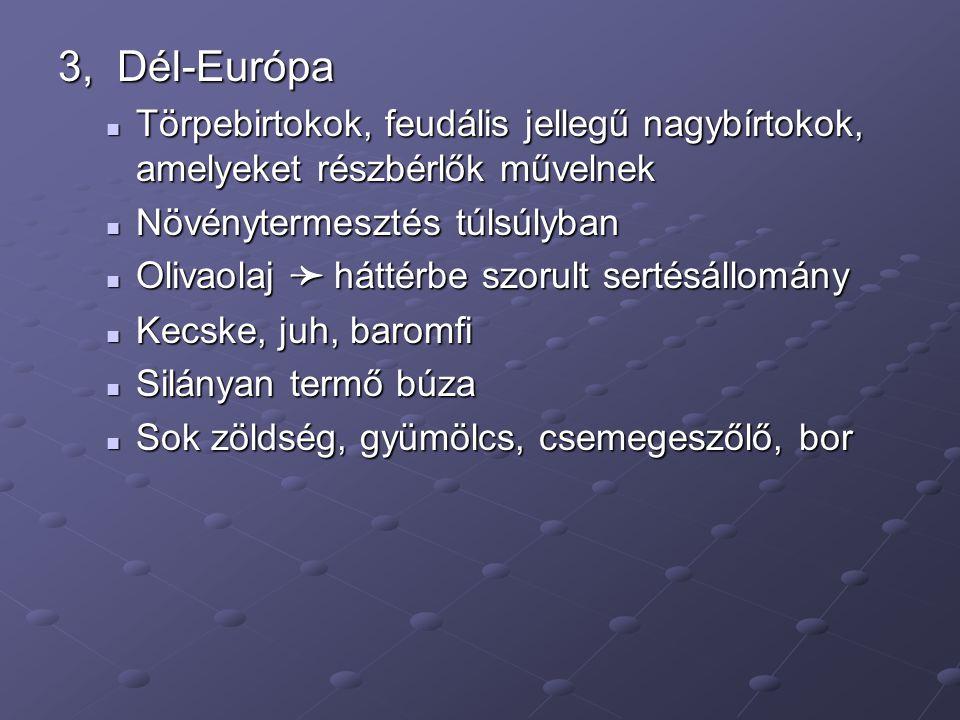 3, Dél-Európa Törpebirtokok, feudális jellegű nagybírtokok, amelyeket részbérlők művelnek Törpebirtokok, feudális jellegű nagybírtokok, amelyeket részbérlők művelnek Növénytermesztés túlsúlyban Növénytermesztés túlsúlyban Olivaolaj ➛ háttérbe szorult sertésállomány Olivaolaj ➛ háttérbe szorult sertésállomány Kecske, juh, baromfi Kecske, juh, baromfi Silányan termő búza Silányan termő búza Sok zöldség, gyümölcs, csemegeszőlő, bor Sok zöldség, gyümölcs, csemegeszőlő, bor