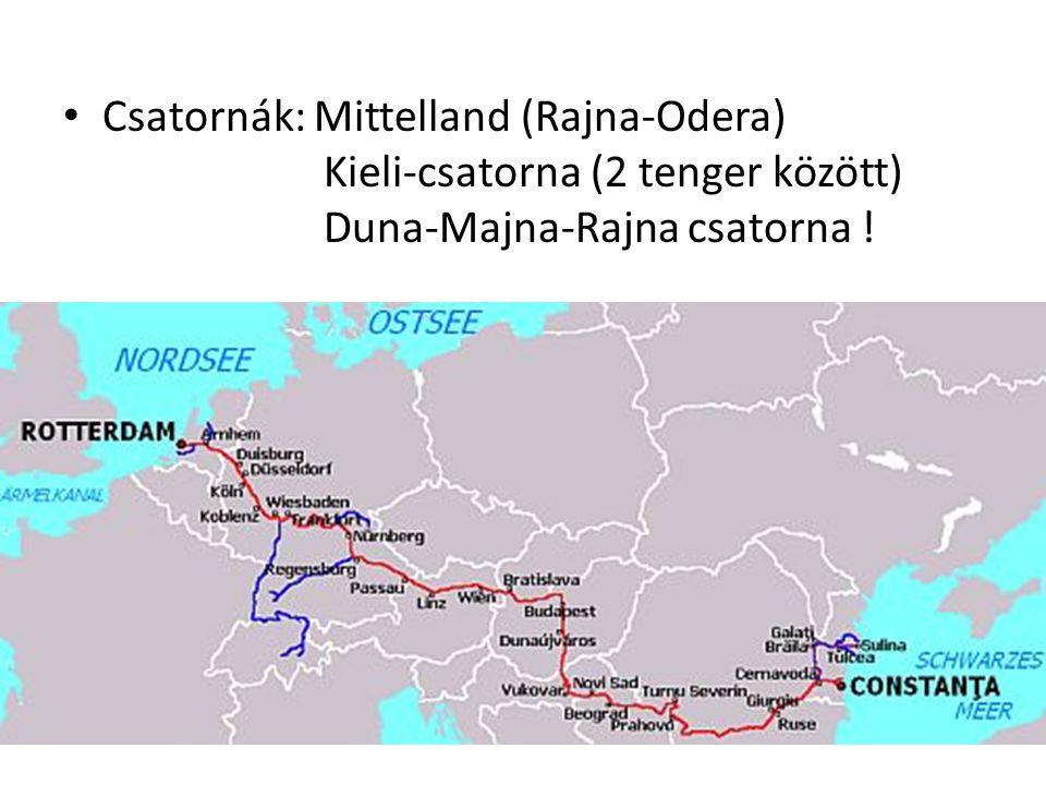 Csatornák: Mittelland (Rajna-Odera) Kieli-csatorna (2 tenger között) Duna-Majna-Rajna csatorna !