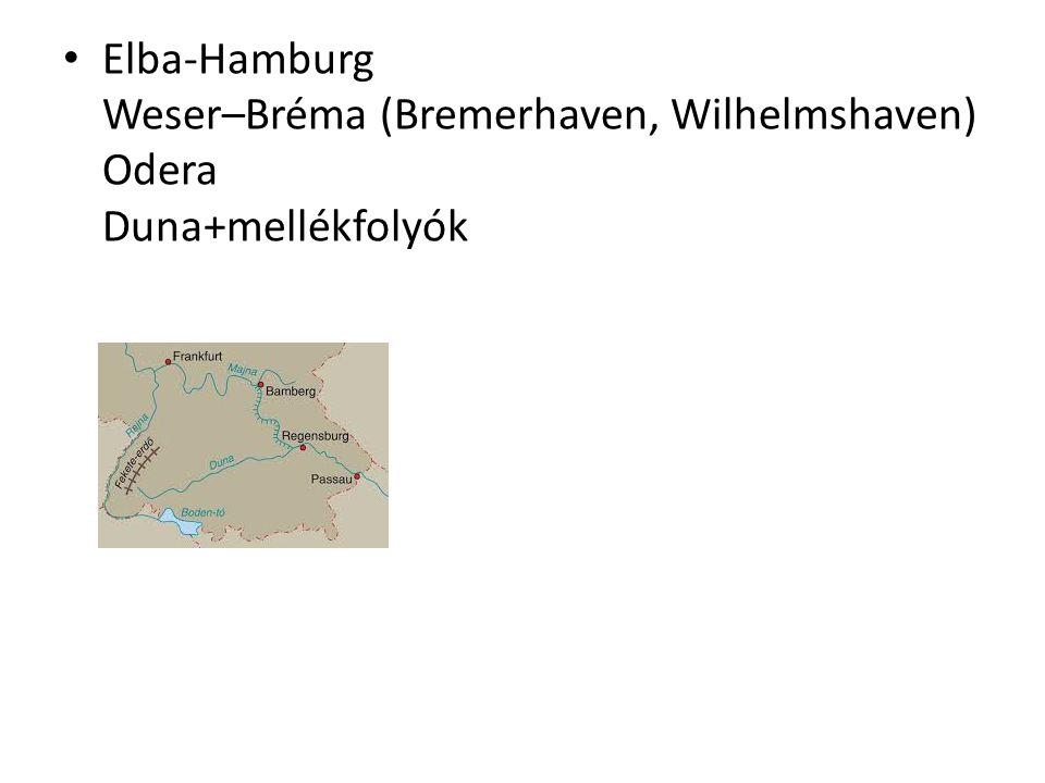 Elba-Hamburg Weser–Bréma (Bremerhaven, Wilhelmshaven) Odera Duna+mellékfolyók