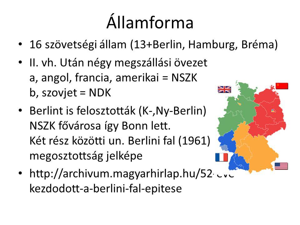 Államforma 16 szövetségi állam (13+Berlin, Hamburg, Bréma) II. vh. Után négy megszállási övezet a, angol, francia, amerikai = NSZK b, szovjet = NDK Be