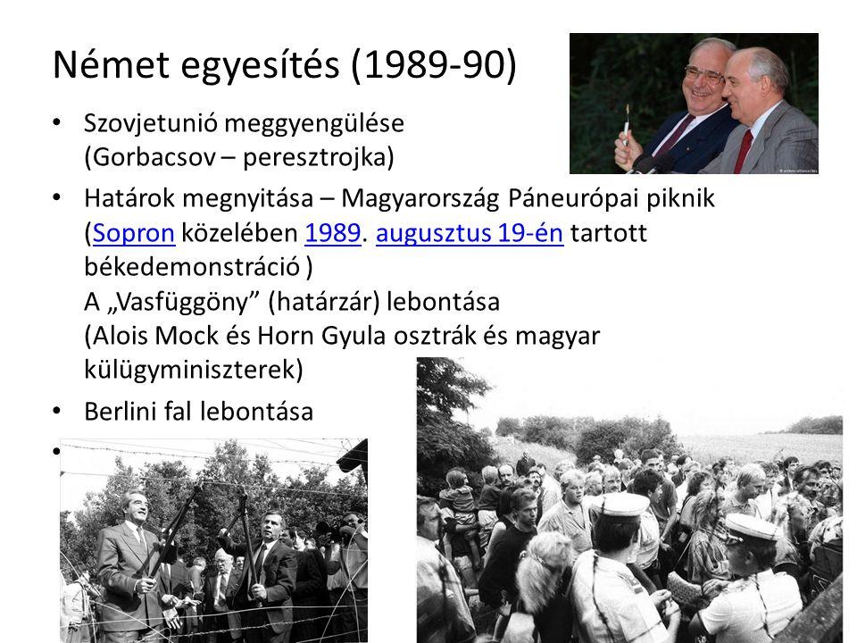 Német egyesítés (1989-90) Szovjetunió meggyengülése (Gorbacsov – peresztrojka) Határok megnyitása – Magyarország Páneurópai piknik (Sopron közelében 1989.