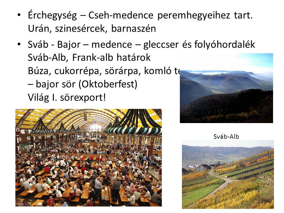 Érchegység – Cseh-medence peremhegyeihez tart. Urán, szinesércek, barnaszén Sváb - Bajor – medence – gleccser és folyóhordalék Sváb-Alb, Frank-alb hat