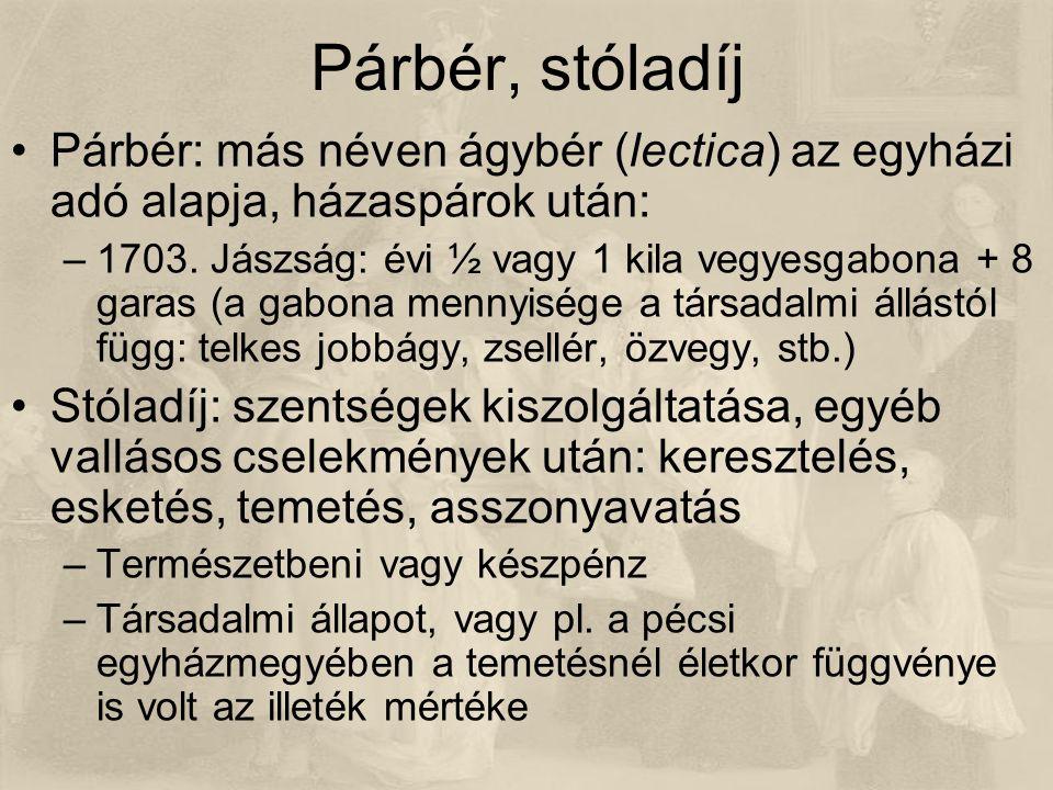 Párbér, stóladíj Párbér: más néven ágybér (lectica) az egyházi adó alapja, házaspárok után: –1703.