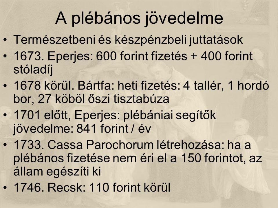A plébános jövedelme Természetbeni és készpénzbeli juttatások 1673.