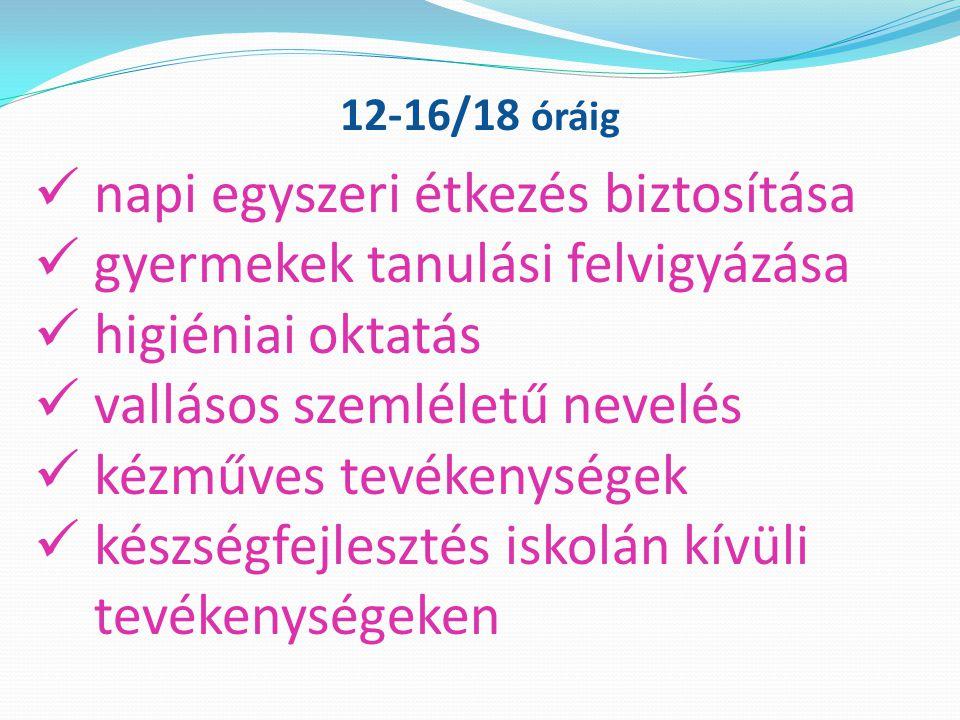 napi egyszeri étkezés biztosítása gyermekek tanulási felvigyázása higiéniai oktatás vallásos szemléletű nevelés kézműves tevékenységek készségfejlesztés iskolán kívüli tevékenységeken 12-16/18 óráig