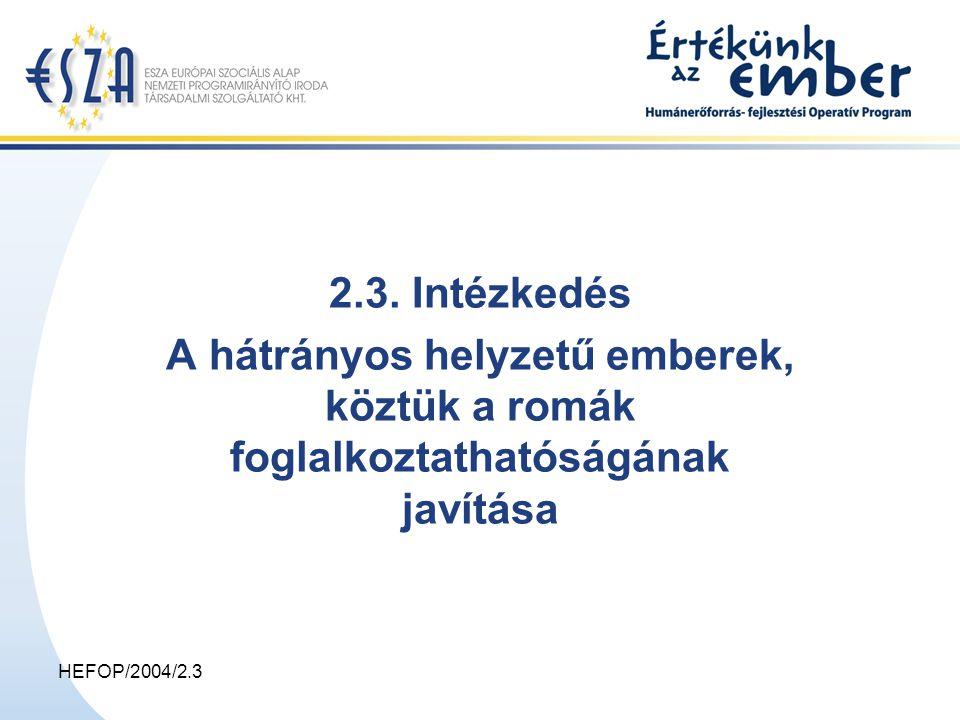 HEFOP/2004/2.3 A projektek szakmai tartalma 1.Előkészítő szakasz –a célcsoport felkutatása, bevonása és motiválása –egyéni állapot-, helyzet-, képesség és szükségletfelmérés, –egyéni fejlesztési tervek, pályatervek készítése 2.Fejlesztési szakasz (a célcsoport tagjai részére csak ebben a szakaszban fizethető ösztöndíj, képzési támogatás) –személyiség és kulcsképességek fejlesztése, –pályaorientáció, tanácsadás, –tanulási és munkamotiváció erősítése, –alapismeretek pótlása, felzárkóztatás, az alapfokú képzettség megszerzésének elősegítése, –tanácsadói és segítő hálózatok működtetése, –képzések szervezése, lebonyolítása (pl.: idegen nyelvi, informatikai), –munkatapasztalat szerzés, foglalkoztatás elősegítése, –a munkahelyek és képző intézmények felkészítése a kliensek fogadására 2.3.2.