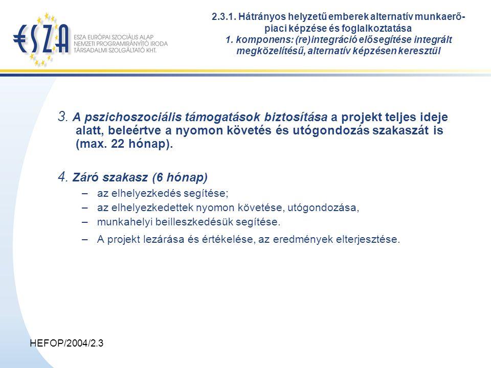 HEFOP/2004/2.3 3. A pszichoszociális támogatások biztosítása a projekt teljes ideje alatt, beleértve a nyomon követés és utógondozás szakaszát is (max