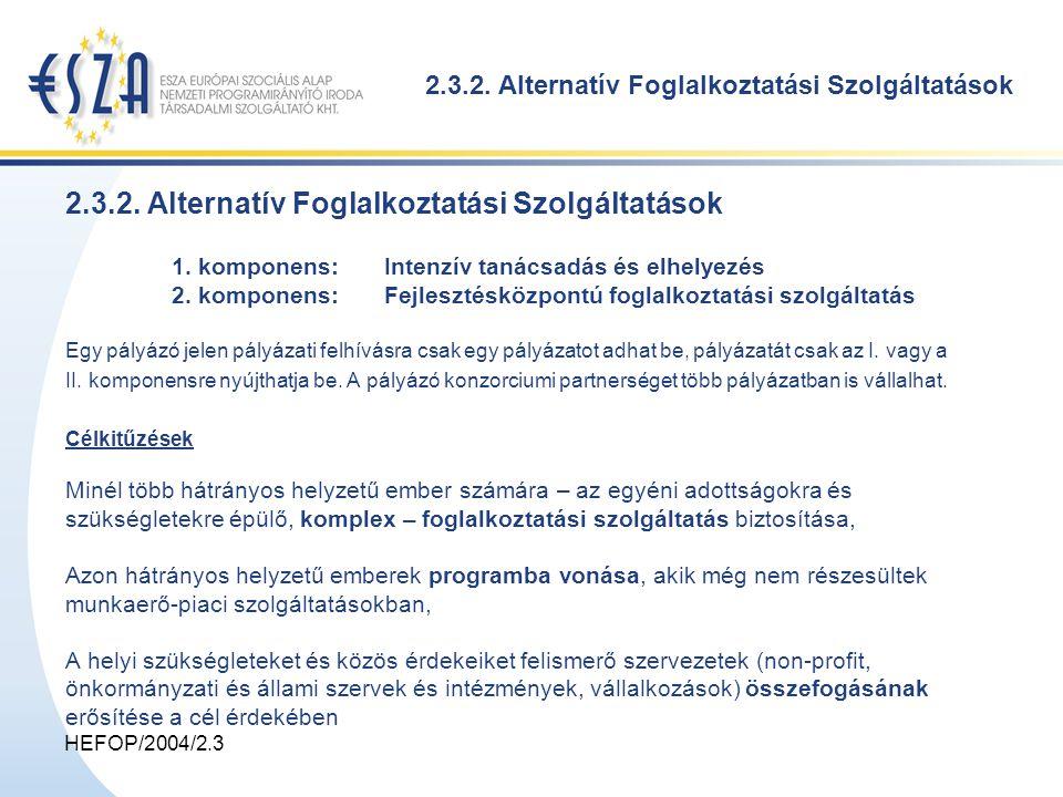 HEFOP/2004/2.3 2.3.2. Alternatív Foglalkoztatási Szolgáltatások 1.