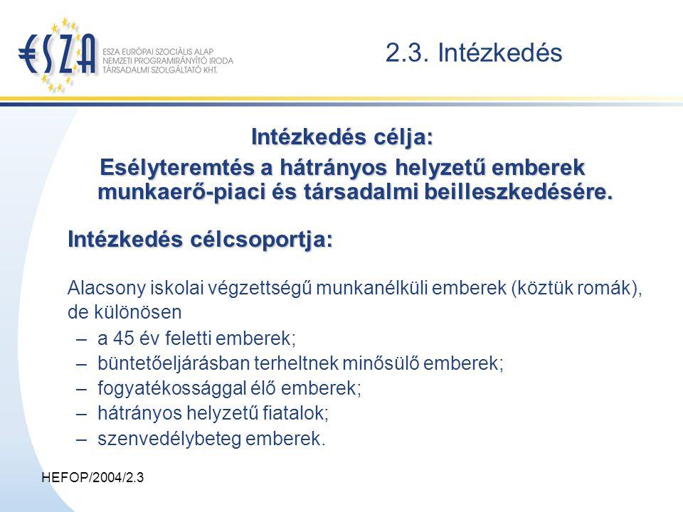 HEFOP/2004/2.3 2.3.2.Alternatív Foglalkoztatási Szolgáltatások 2.