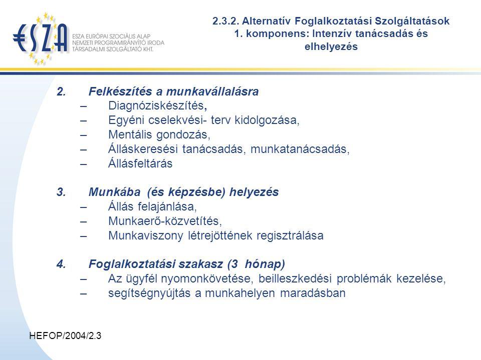 HEFOP/2004/2.3 2.3.2. Alternatív Foglalkoztatási Szolgáltatások 1. komponens: Intenzív tanácsadás és elhelyezés 2.Felkészítés a munkavállalásra –Diagn