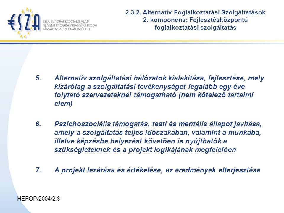HEFOP/2004/2.3 2.3.2. Alternatív Foglalkoztatási Szolgáltatások 2.