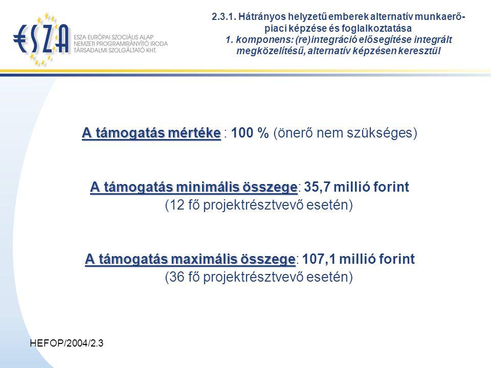 HEFOP/2004/2.3 A támogatás mértéke A támogatás mértéke : 100 % (önerő nem szükséges) A támogatás minimális összege A támogatás minimális összege: 35,7 millió forint (12 fő projektrésztvevő esetén) A támogatás maximális összege A támogatás maximális összege: 107,1 millió forint (36 fő projektrésztvevő esetén) 2.3.1.