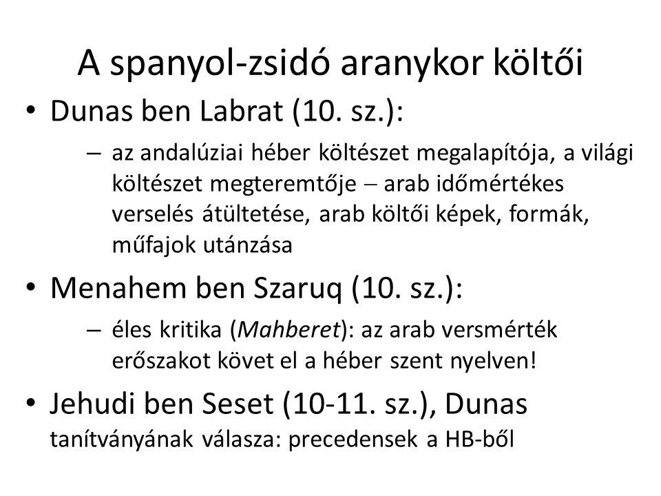 A spanyol-zsidó aranykor költői Dunas ben Labrat (10.