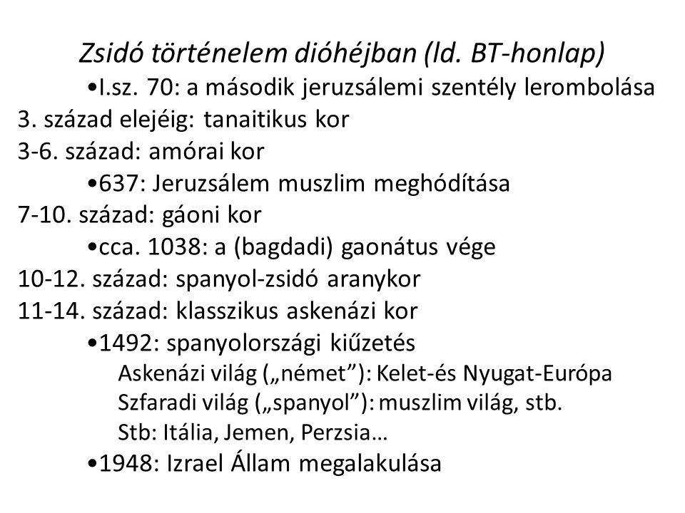 Zsidó történelem dióhéjban (ld. BT-honlap) I.sz. 70: a második jeruzsálemi szentély lerombolása 3.