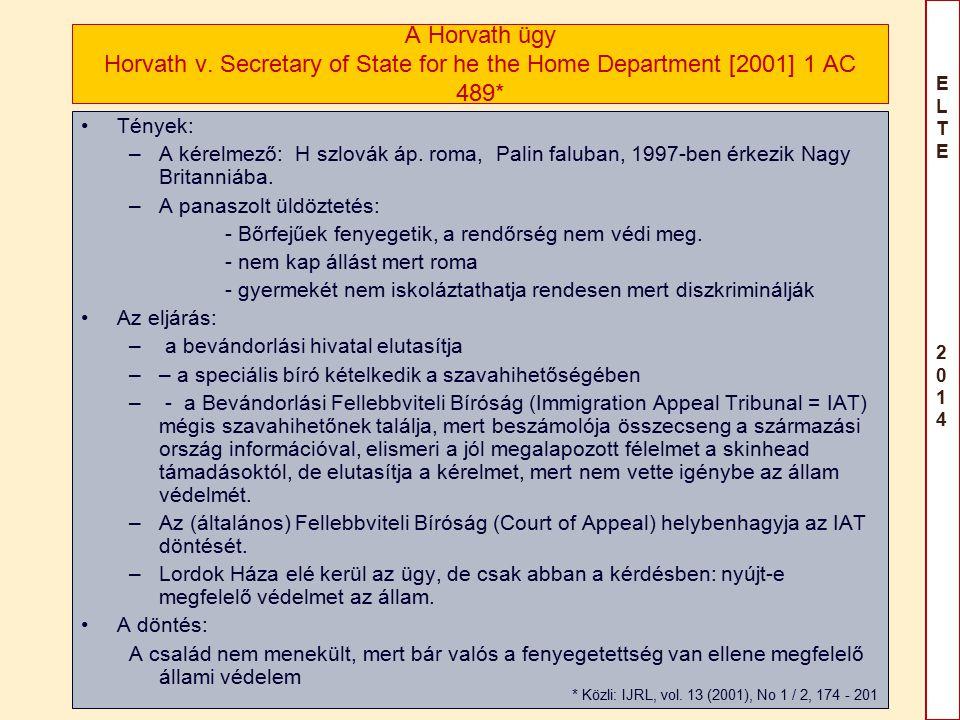 ELTE 2014ELTE 2014 Horvath - az állami védelem Két kérdés: 1.