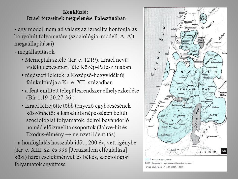 Konklúzió: Izrael törzseinek megjelenése Palesztinában - egy modell nem ad válasz az izraelita honfoglalás bonyolult folyamatára (szociológiai modell,