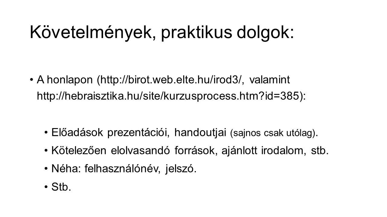 Követelmények, praktikus dolgok: A honlapon (http://birot.web.elte.hu/irod3/, valamint http://hebraisztika.hu/site/kurzusprocess.htm id=385): Előadások prezentációi, handoutjai (sajnos csak utólag).