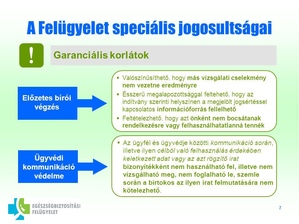 7 A Felügyelet speciális jogosultságai Garanciális korlátok .