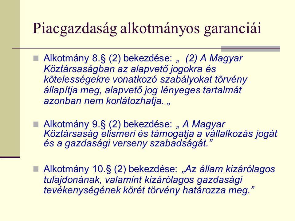 """Piacgazdaság alkotmányos garanciái Alkotmány 8.§ (2) bekezdése: """" (2) A Magyar Köztársaságban az alapvető jogokra és kötelességekre vonatkozó szabályokat törvény állapítja meg, alapvető jog lényeges tartalmát azonban nem korlátozhatja."""