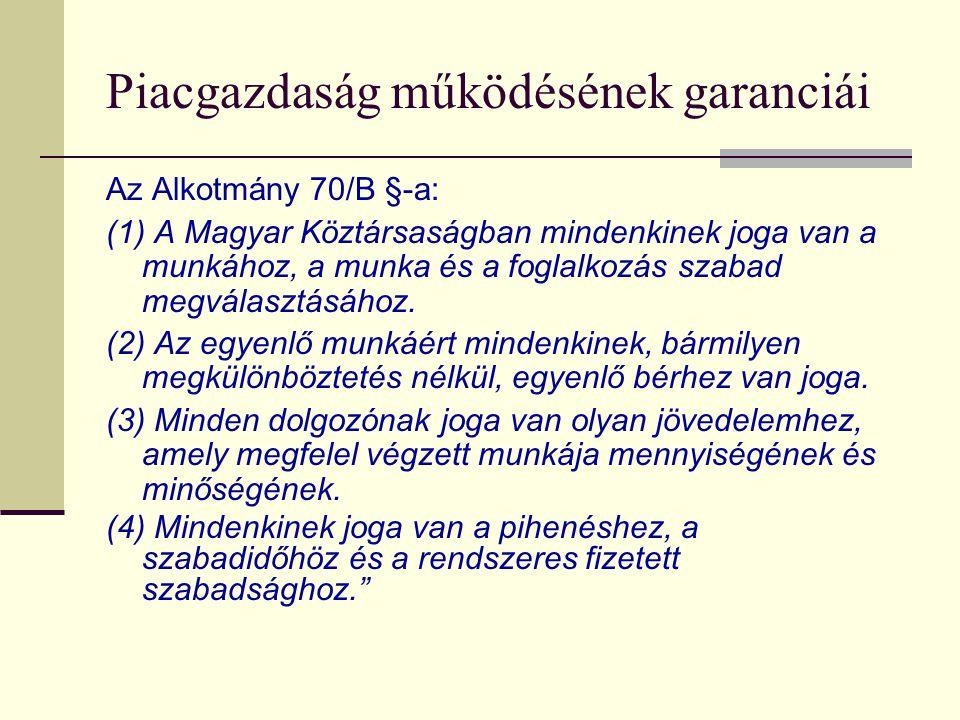 Piacgazdaság működésének garanciái Az Alkotmány 70/B §-a: (1) A Magyar Köztársaságban mindenkinek joga van a munkához, a munka és a foglalkozás szabad megválasztásához.