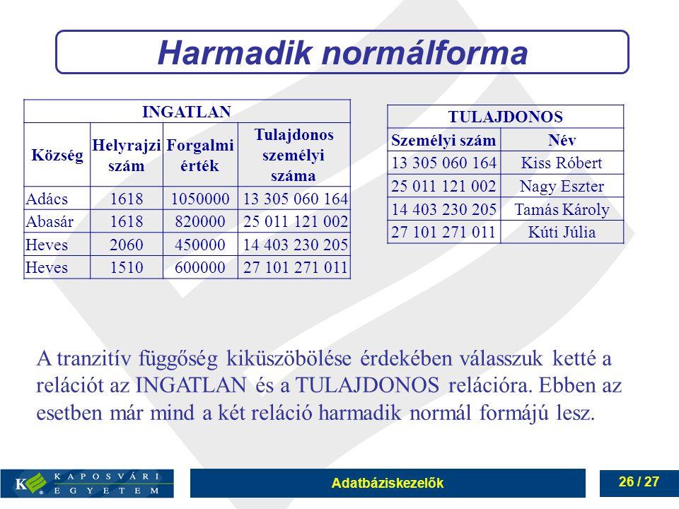Adatbáziskezelők 26 / 27 Harmadik normálforma A tranzitív függőség kiküszöbölése érdekében válasszuk ketté a relációt az INGATLAN és a TULAJDONOS relációra.
