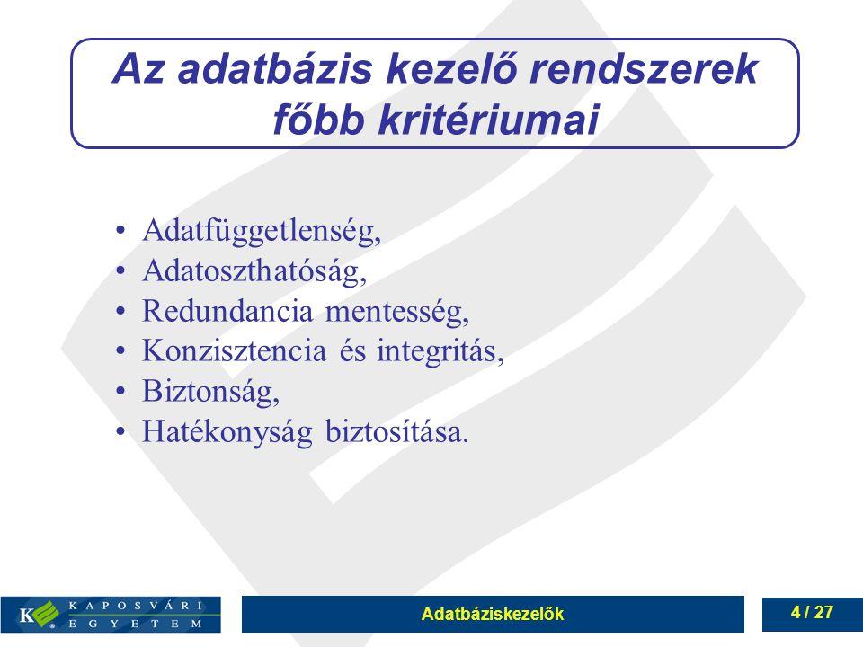 Adatbáziskezelők 4 / 27 Adatfüggetlenség, Adatoszthatóság, Redundancia mentesség, Konzisztencia és integritás, Biztonság, Hatékonyság biztosítása.