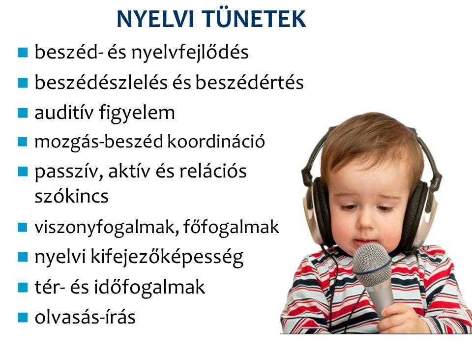 NYELVI TÜNETEK beszéd- és nyelvfejlődés beszédészlelés és beszédértés auditív figyelem mozgás-beszéd koordináció passzív, aktív és relációs szókincs v