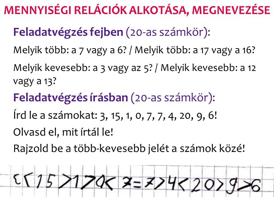 MENNYISÉGI RELÁCIÓK ALKOTÁSA, MEGNEVEZÉSE Feladatvégzés fejben (20-as számkör): Melyik több: a 7 vagy a 6? / Melyik több: a 17 vagy a 16? Melyik keves