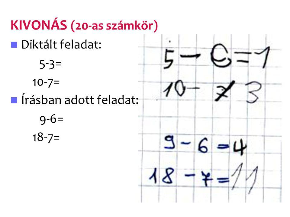 KIVONÁS (20-as számkör) Diktált feladat: 5-3= 10-7= Írásban adott feladat: 9-6= 18-7=