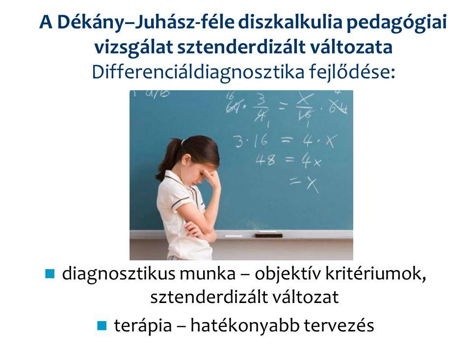 A Dékány–Juhász-féle diszkalkulia pedagógiai vizsgálat sztenderdizált változata Differenciáldiagnosztika fejlődése: diagnosztikus munka – objektív kri