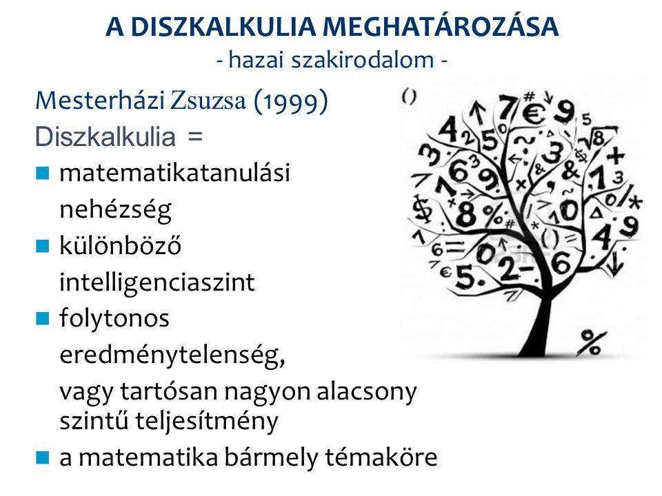 A DISZKALKULIA MEGHATÁROZÁSA - hazai szakirodalom - Mesterházi Zsuzsa (1999) Diszkalkulia = matematikatanulási nehézség különböző intelligenciaszint f