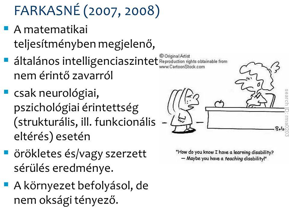DÉKÁNY (1989, 1995) Diszkalkulia = ép intelligenciaérték mellett organikus hátterű, szint alatti teljesítmény, az egyén a matematikában a tőle elvárt képességek szintje alatt kórosan elmarad.