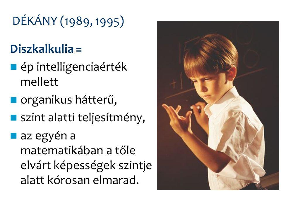 DÉKÁNY (1989, 1995) Diszkalkulia = ép intelligenciaérték mellett organikus hátterű, szint alatti teljesítmény, az egyén a matematikában a tőle elvárt