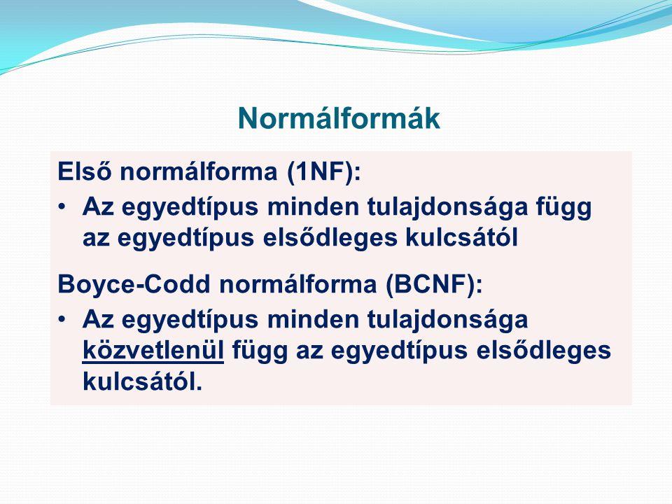 Normálformák Első normálforma (1NF): Az egyedtípus minden tulajdonsága függ az egyedtípus elsődleges kulcsától Boyce-Codd normálforma (BCNF): Az egyedtípus minden tulajdonsága közvetlenül függ az egyedtípus elsődleges kulcsától.