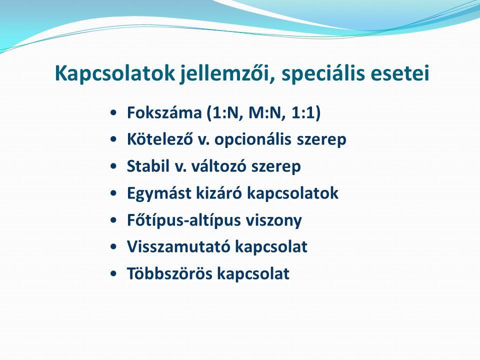 Kapcsolatok jellemzői, speciális esetei Fokszáma (1:N, M:N, 1:1) Kötelező v.