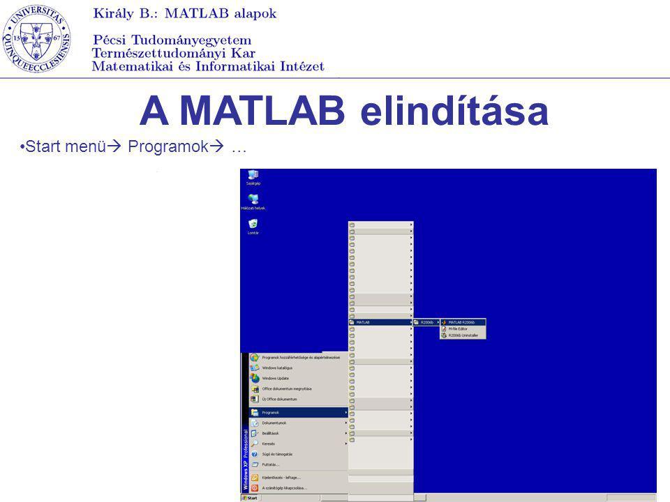 A MATLAB leállítása A quit vagy az exit utasítás kiadásával File menü  exit MATLAB Az ablak bezárásával Ha van finish.m file, akkor a MATLAB leállításakor a benne található utasítá-sok még végrehajtódnak.