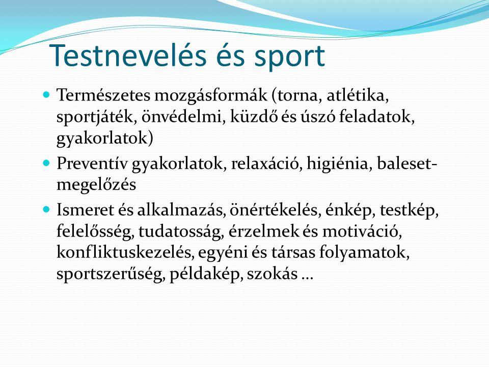Testnevelés és sport Természetes mozgásformák (torna, atlétika, sportjáték, önvédelmi, küzdő és úszó feladatok, gyakorlatok) Preventív gyakorlatok, relaxáció, higiénia, baleset- megelőzés Ismeret és alkalmazás, önértékelés, énkép, testkép, felelősség, tudatosság, érzelmek és motiváció, konfliktuskezelés, egyéni és társas folyamatok, sportszerűség, példakép, szokás …