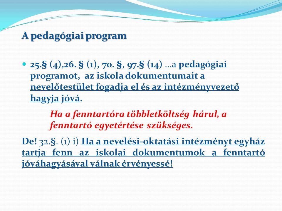 A pedagógiai program 25.§ (4),26.§ (1), 70.