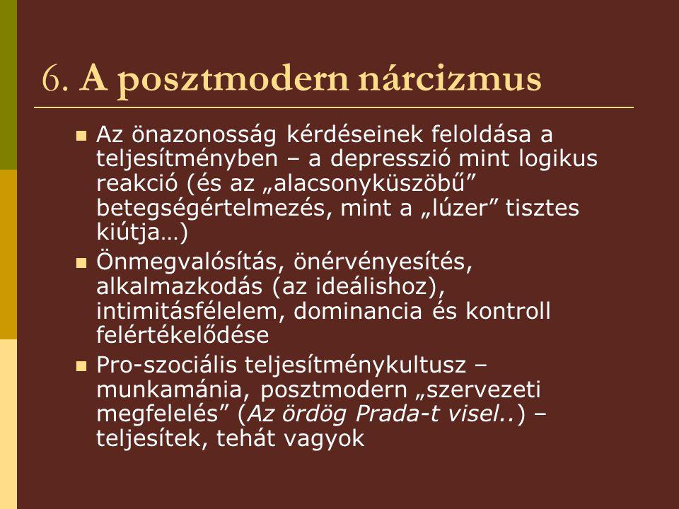 """6. A posztmodern nárcizmus Az önazonosság kérdéseinek feloldása a teljesítményben – a depresszió mint logikus reakció (és az """"alacsonyküszöbű"""" betegsé"""