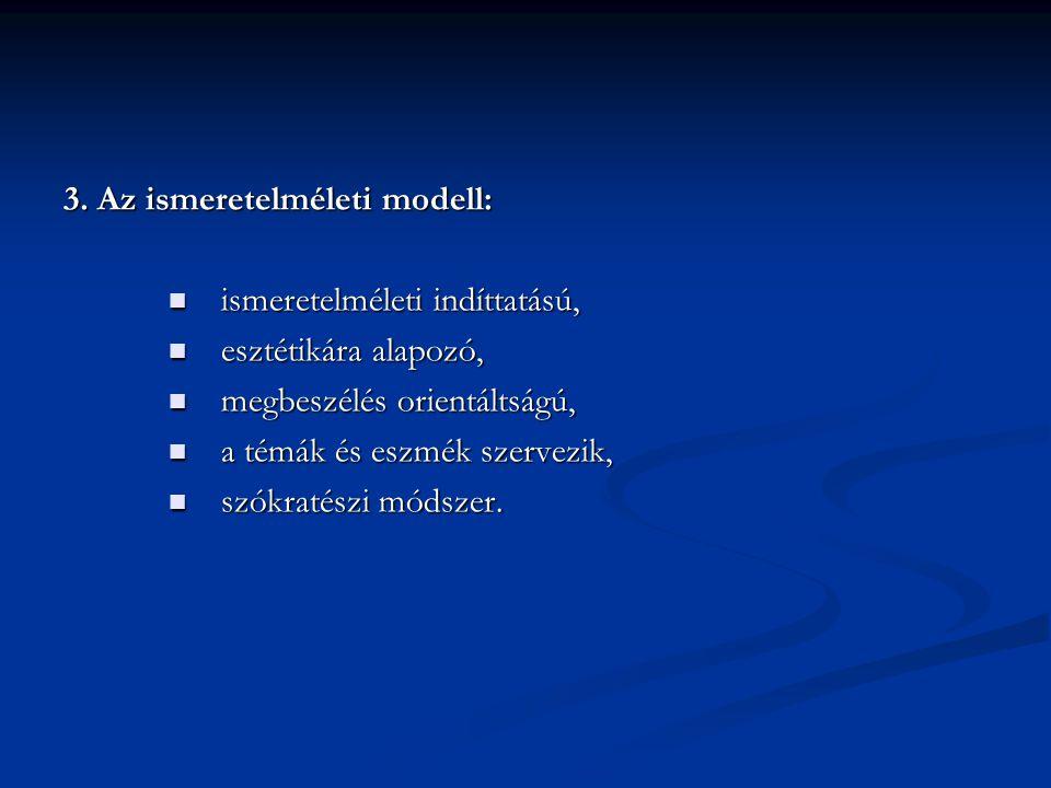 3. Az ismeretelméleti modell: ismeretelméleti indíttatású, ismeretelméleti indíttatású, esztétikára alapozó, esztétikára alapozó, megbeszélés orientál