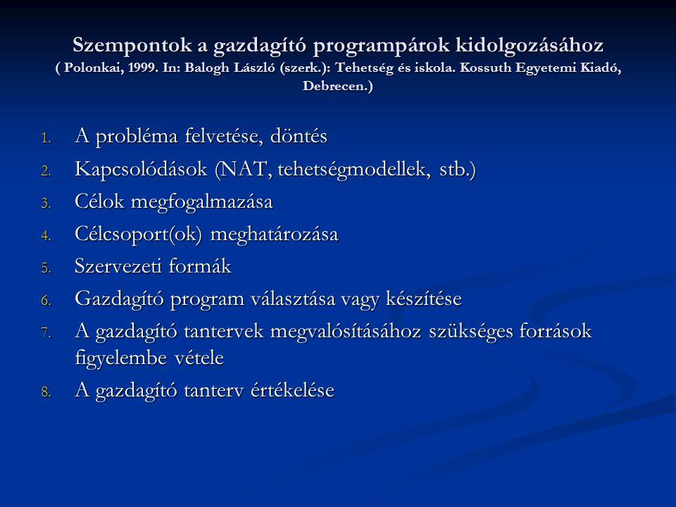Szempontok a gazdagító programpárok kidolgozásához ( Polonkai, 1999. In: Balogh László (szerk.): Tehetség és iskola. Kossuth Egyetemi Kiadó, Debrecen.
