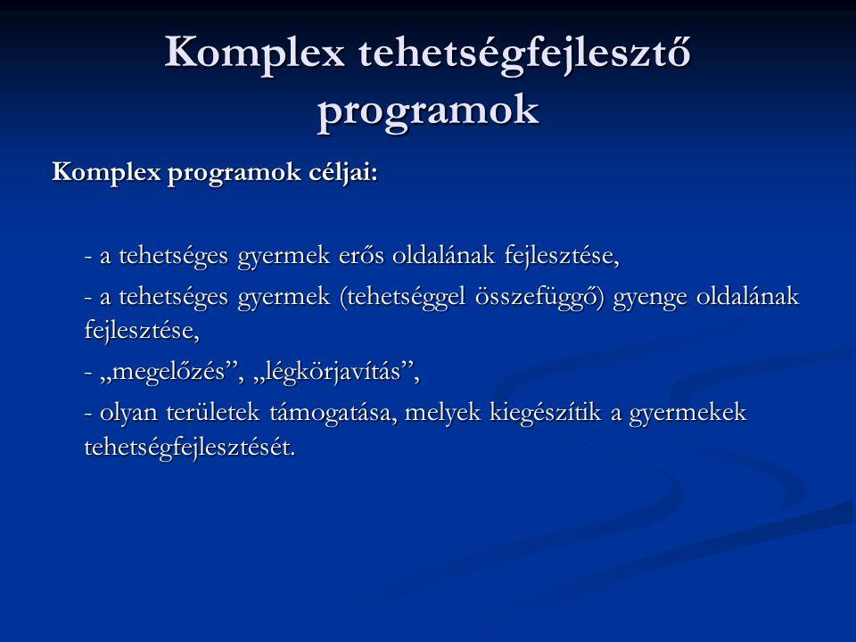 Komplex tehetségfejlesztő programok Komplex programok céljai: - a tehetséges gyermek erős oldalának fejlesztése, - a tehetséges gyermek (tehetséggel ö