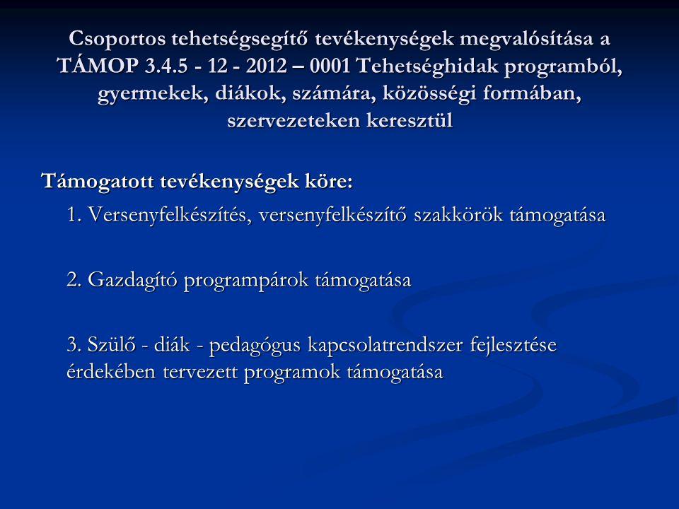 Csoportos tehetségsegítő tevékenységek megvalósítása a TÁMOP 3.4.5 - 12 - 2012 – 0001 Tehetséghidak programból, gyermekek, diákok, számára, közösségi