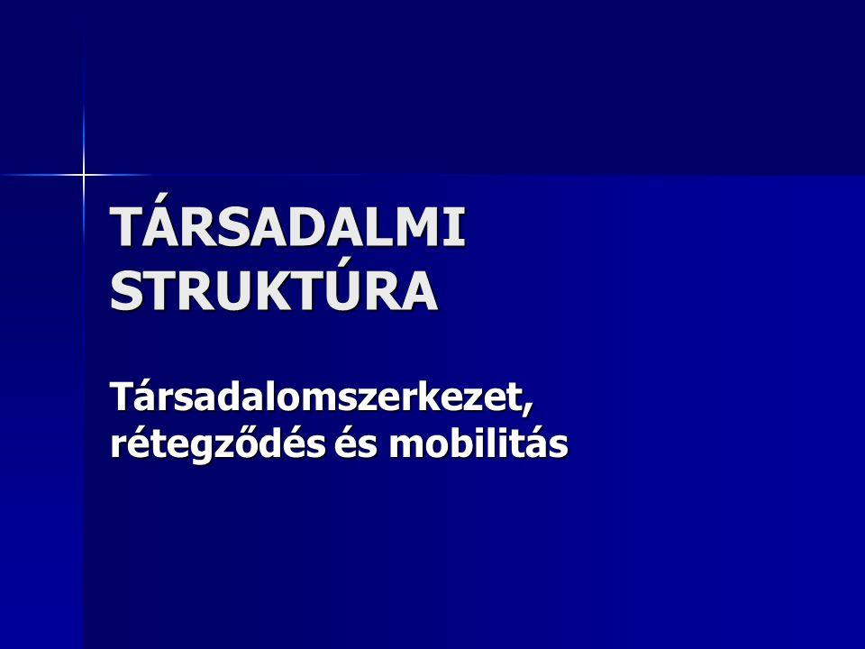 TÁRSADALMI STRUKTÚRA Társadalomszerkezet, rétegződés és mobilitás