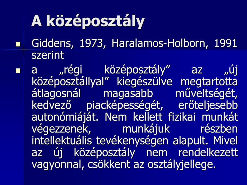 """A középosztály Giddens, 1973, Haralamos-Holborn, 1991 szerint Giddens, 1973, Haralamos-Holborn, 1991 szerint a """"régi középosztály"""" az """"új középosztáll"""