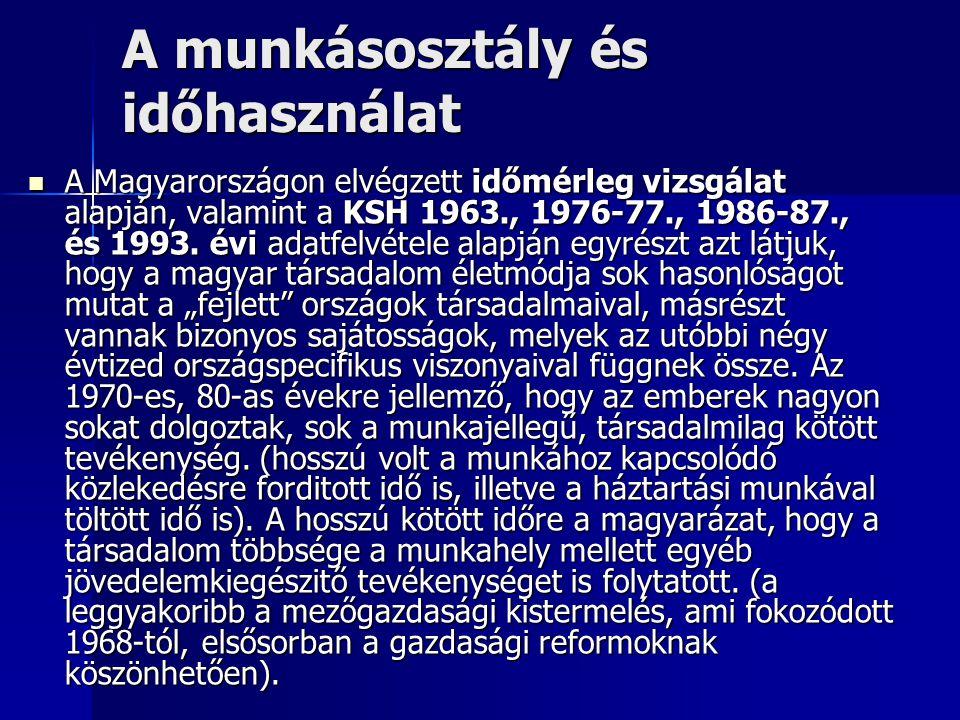 A munkásosztály és időhasználat A Magyarországon elvégzett időmérleg vizsgálat alapján, valamint a KSH 1963., 1976-77., 1986-87., és 1993.