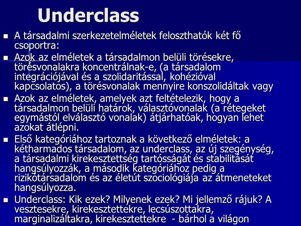 Underclass A társadalmi szerkezetelméletek feloszthatók két fő csoportra: A társadalmi szerkezetelméletek feloszthatók két fő csoportra: Azok az elmél