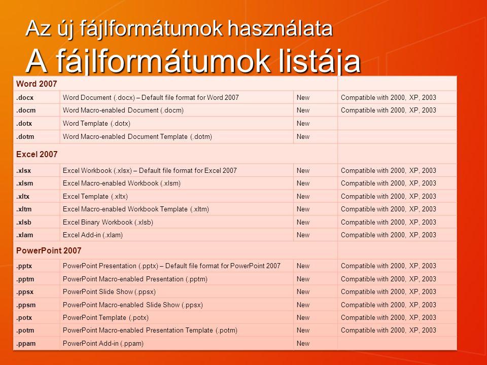 Az új fájlformátumok használata A fájlformátumok listája