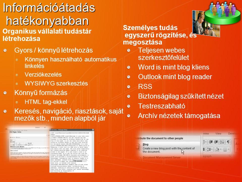 Információátadás hatékonyabban Organikus vállalati tudástár létrehozása Gyors / könnyű létrehozás Könnyen használható automatikus linkelés Verziókezel
